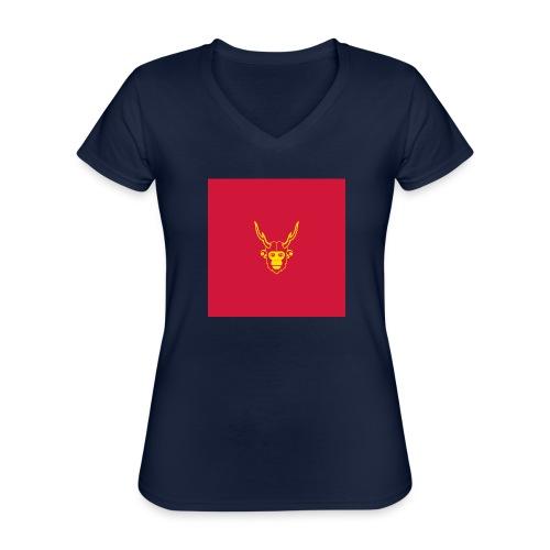 scimmiacervo sfondo rosso - Maglietta da donna classica con scollo a V