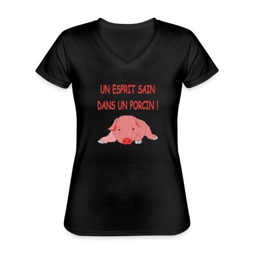Porcitive Attitude - T-shirt classique col V Femme