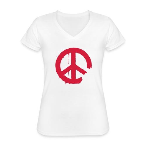 PEACE - Klassisches Frauen-T-Shirt mit V-Ausschnitt