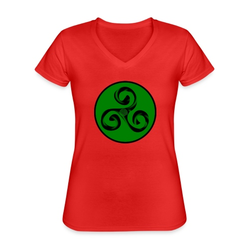 Triskel and Spiral - Camiseta clásica con cuello de pico para mujer