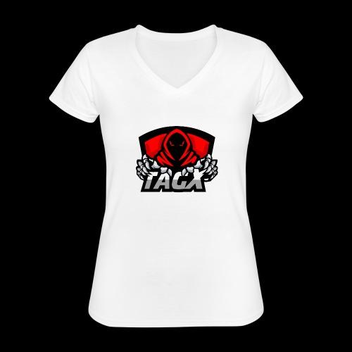 TagX Logo - Klassinen naisten t-paita v-pääntiellä