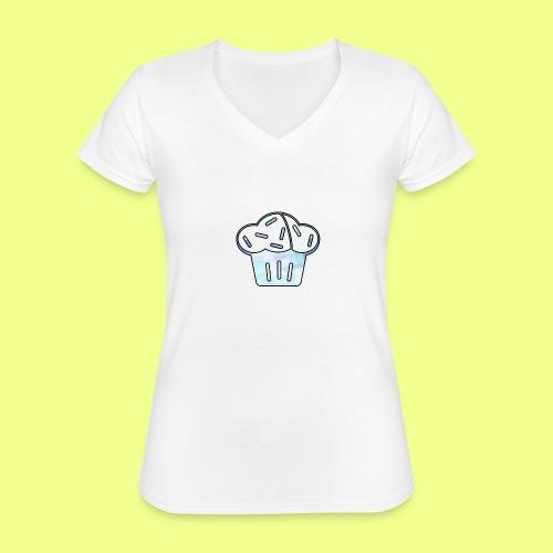 Pastel - Camiseta clásica con cuello de pico para mujer
