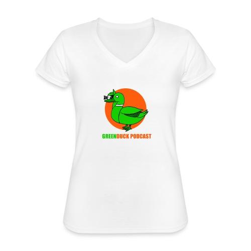 Greenduck Podcast Logo - Klassisk dame T-shirt med V-udskæring