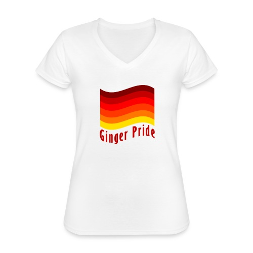 Ginger Pride flag Dark png - Classic Women's V-Neck T-Shirt