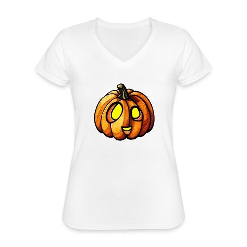 Pumpkin Halloween watercolor scribblesirii - Klassinen naisten t-paita v-pääntiellä