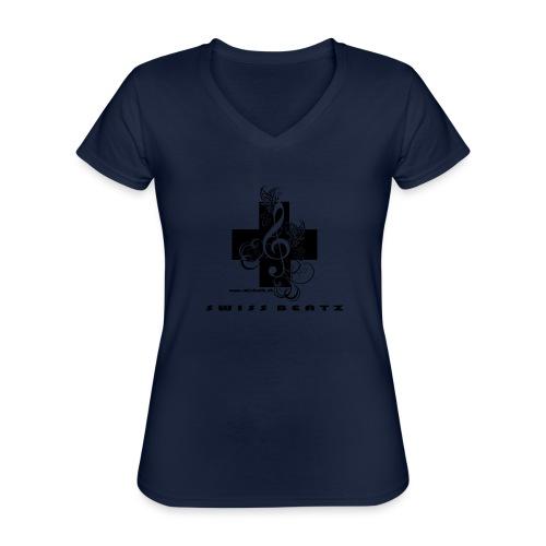 Swiss Beatz Logo with L - Klassisches Frauen-T-Shirt mit V-Ausschnitt