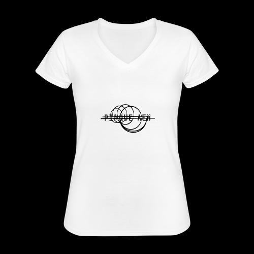 Pinque AEM NERO - Maglietta da donna classica con scollo a V