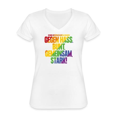 MOTTO CSD München 2020 - Klassisches Frauen-T-Shirt mit V-Ausschnitt