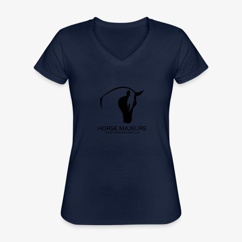 Horse Majeure Logo / Musta - Klassinen naisten t-paita v-pääntiellä
