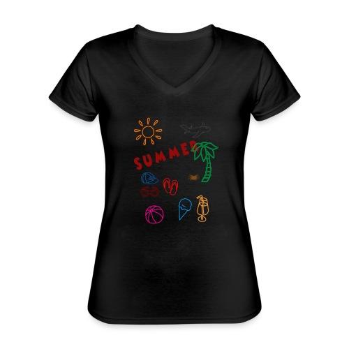 Summer - Klassinen naisten t-paita v-pääntiellä