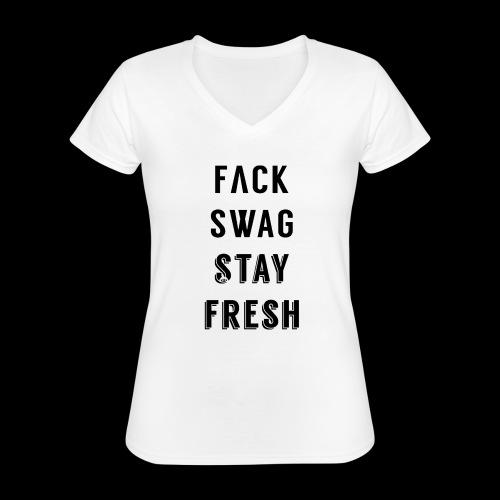 Fack Swag Tee - Camiseta clásica con cuello de pico para mujer
