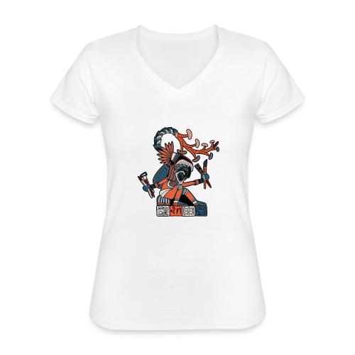 MAESTRO MEZCALERO PREHISPÁNICO - Camiseta clásica con cuello de pico para mujer