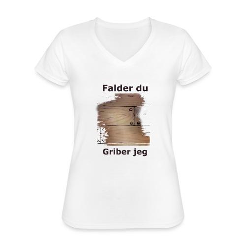 Gulvet Griber - Klassisk dame T-shirt med V-udskæring