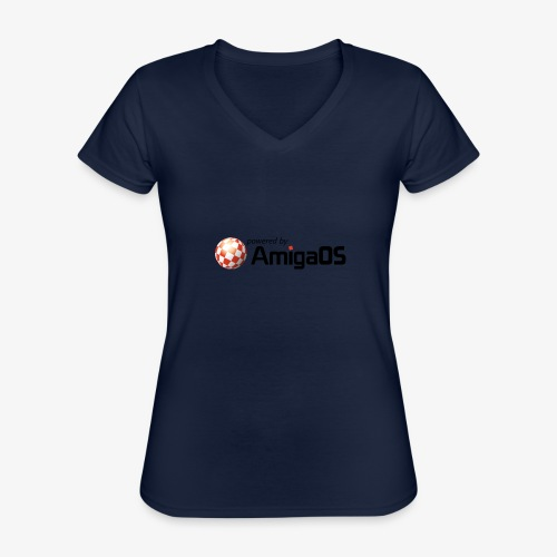 PoweredByAmigaOS Black - Classic Women's V-Neck T-Shirt