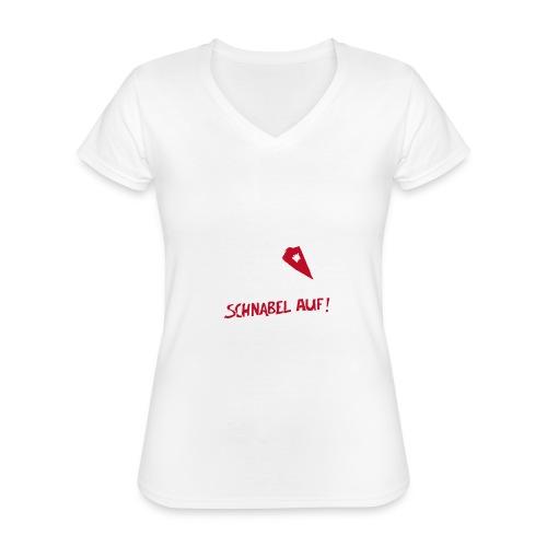 Schnabel auf gegen Hetzer und Rassisten - Klassisches Frauen-T-Shirt mit V-Ausschnitt
