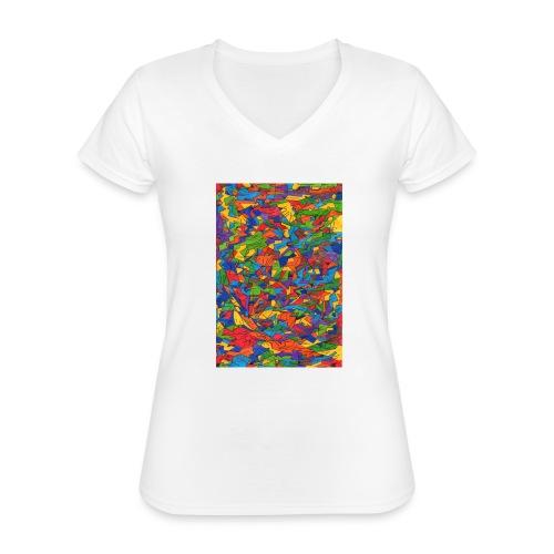 Color_Style - Camiseta clásica con cuello de pico para mujer