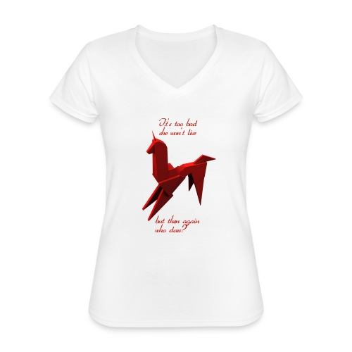 UnicornioBR2 - Camiseta clásica con cuello de pico para mujer