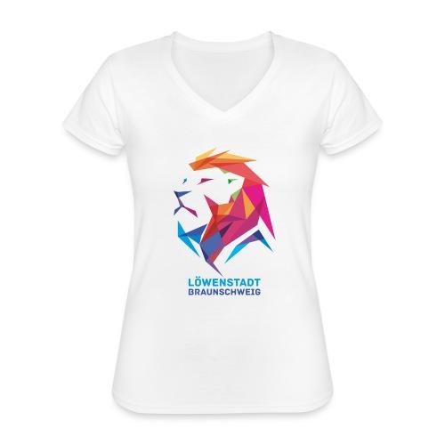 Löwenstadt Design 7 - Klassisches Frauen-T-Shirt mit V-Ausschnitt