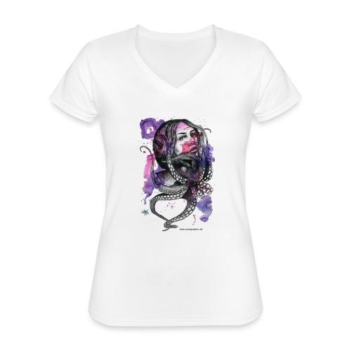 octopus oktopus portrait by carographic - Klassisches Frauen-T-Shirt mit V-Ausschnitt