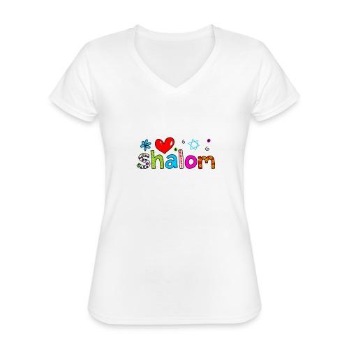 Shalom II - Klassisches Frauen-T-Shirt mit V-Ausschnitt