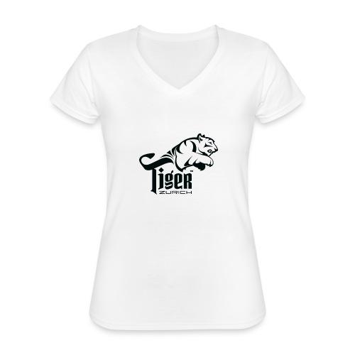 TIGER ZURICH digitaltransfer - Klassisches Frauen-T-Shirt mit V-Ausschnitt
