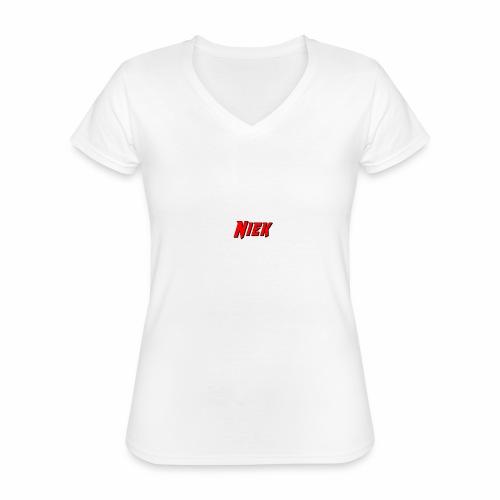 Niek Red - Klassiek vrouwen T-shirt met V-hals