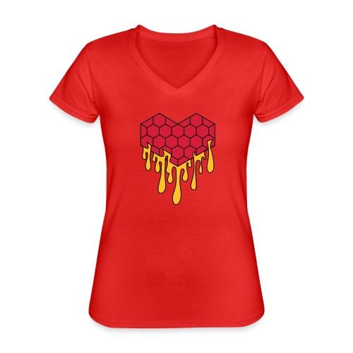 Honey heart cuore miele radeo - Maglietta da donna classica con scollo a V