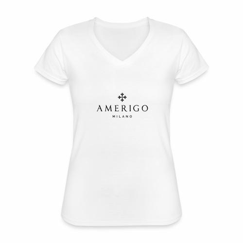Amerigo Milano - Maglietta da donna classica con scollo a V