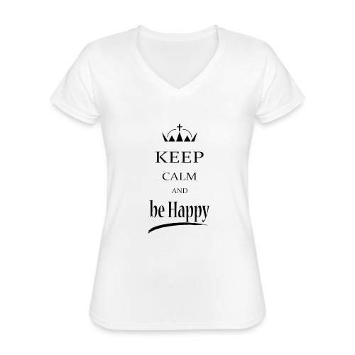 keep_calm and_be_happy-01 - Maglietta da donna classica con scollo a V