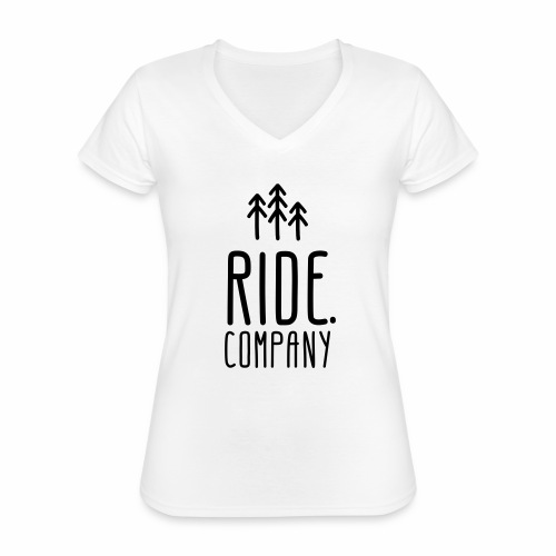RIDE.company Logo - Klassisches Frauen-T-Shirt mit V-Ausschnitt