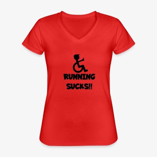 Rolstoel gebruikers haten rennen - Klassiek vrouwen T-shirt met V-hals
