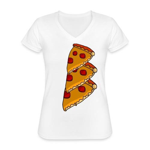 pizza - Klassisk dame T-shirt med V-udskæring