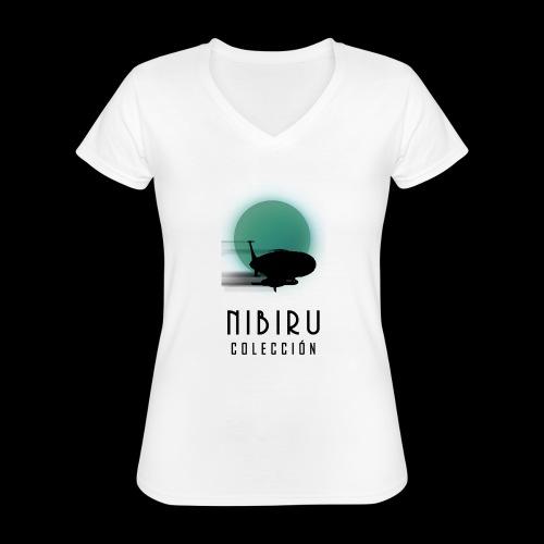 NibiruLogo - Camiseta clásica con cuello de pico para mujer