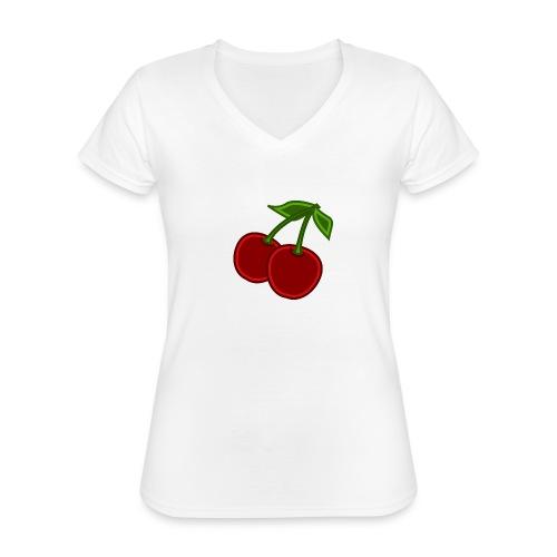 cherry - Klasyczna koszulka damska z dekoltem w serek