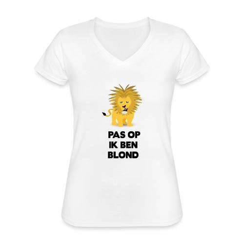 Pas op ik ben blond een cartoon van blonde leeuw - Klassiek vrouwen T-shirt met V-hals