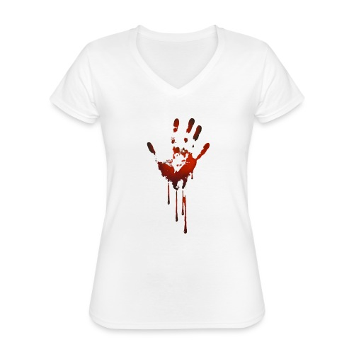 tænk dig om - Klassisk dame T-shirt med V-udskæring