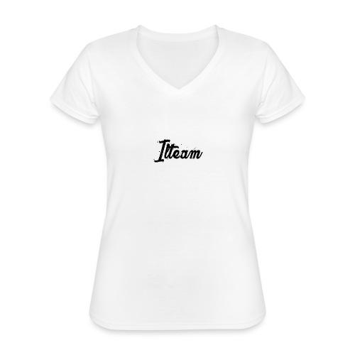Ilteam Black and White - T-shirt classique col V Femme