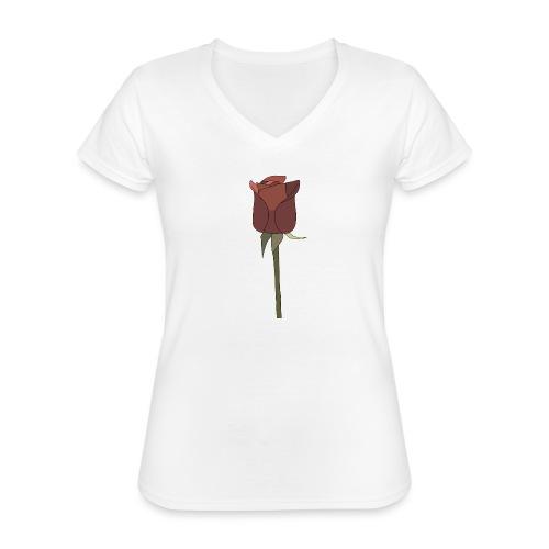 Rose - Klassisches Frauen-T-Shirt mit V-Ausschnitt