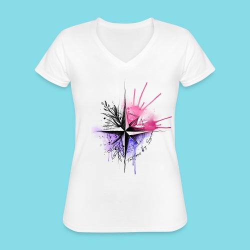 Kompass Watercolor - Tattoos by Lena - Klassisches Frauen-T-Shirt mit V-Ausschnitt