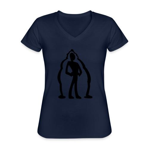 logo2 - Klassisk T-shirt med V-ringning dam