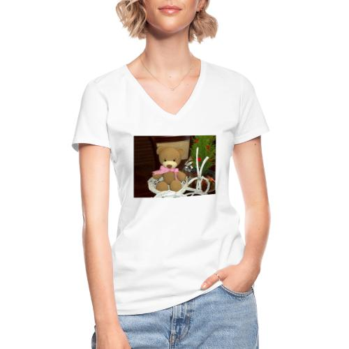 Oso amigurumi de crochet hecho a mano,suave - Camiseta clásica con cuello de pico para mujer
