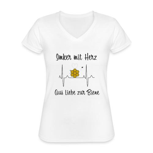 Imker mit Herz Aus Liebe zur Biene - Klassisches Frauen-T-Shirt mit V-Ausschnitt