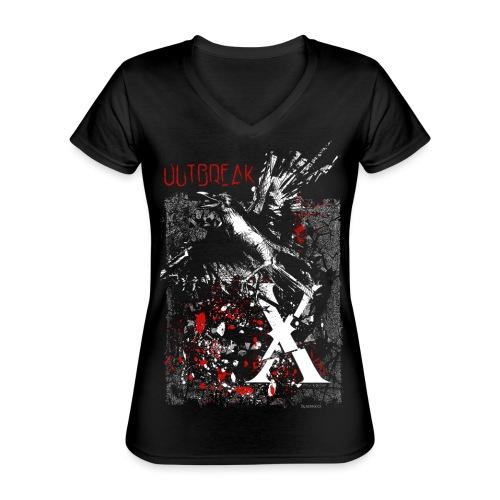 RAVEN   OUTBREAK-X - Klassisches Frauen-T-Shirt mit V-Ausschnitt