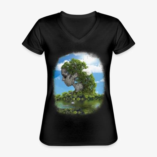 Land of Id - Klassisk T-shirt med V-ringning dam