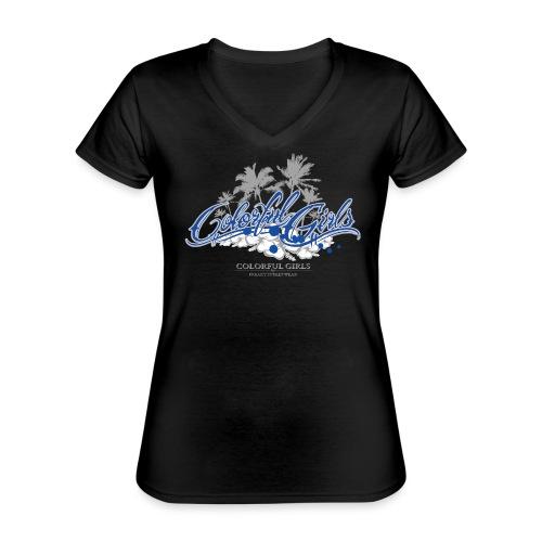 Colorful Girls Logo - Klassisches Frauen-T-Shirt mit V-Ausschnitt