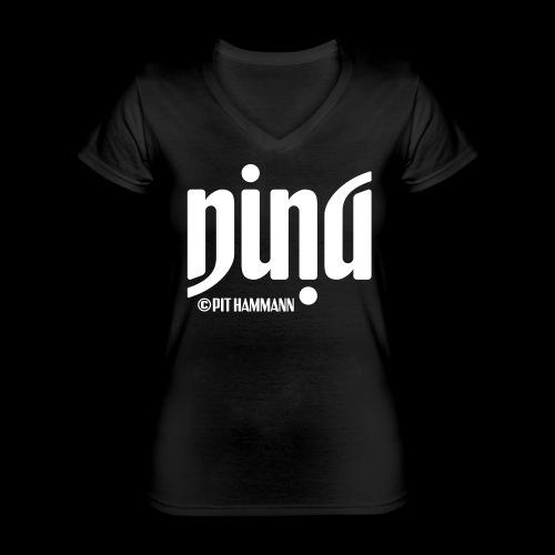 Ambigramm Nina 01 Pit Hammann - Klassisches Frauen-T-Shirt mit V-Ausschnitt