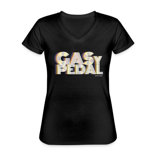 GAS Y PEDAL - Camiseta clásica con cuello de pico para mujer