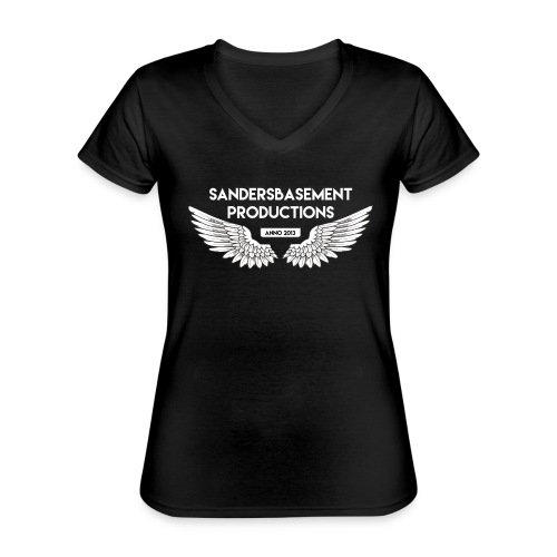 T SHIRT logo wit png png - Klassiek vrouwen T-shirt met V-hals