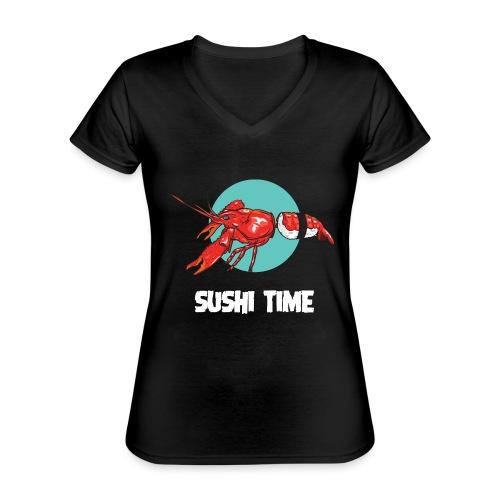 SUSHI TIME-gambero-b - Maglietta da donna classica con scollo a V