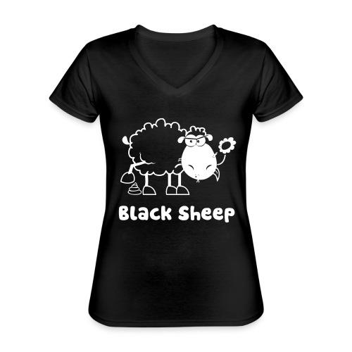 Schwarzes Schaf, Black Sheep - Klassisches Frauen-T-Shirt mit V-Ausschnitt